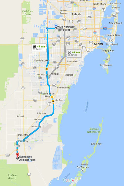 Map to the Everglades National Park