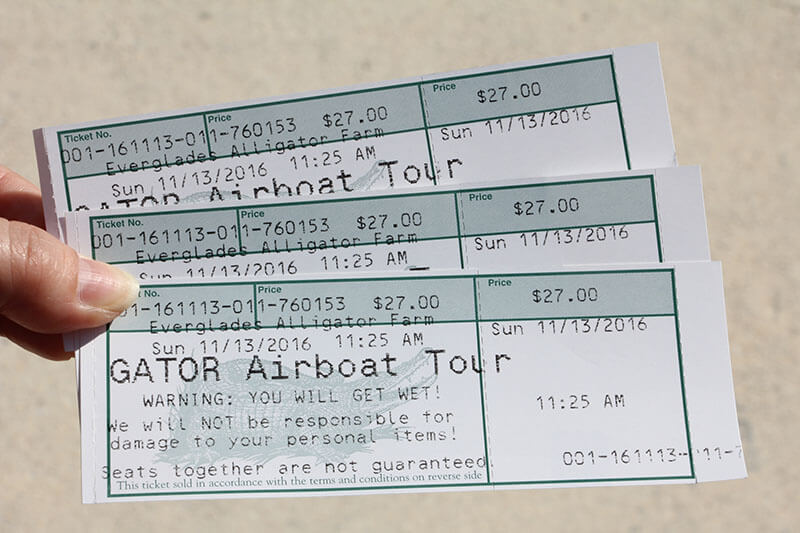 Tickets for the Everglades National Park Airboat ride