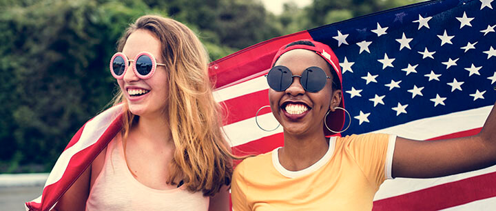 Women with an American flag
