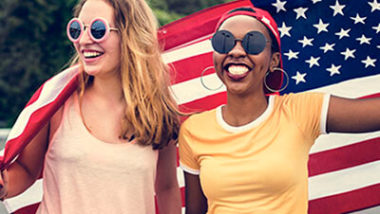 Women with American nation flag